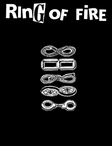 "(Book cover that is black and reads ""RING OF FIRE"" across the top, underneath are drawings of a snake, a # 8, a bundle of rope, two wheels, and handcuffs)"