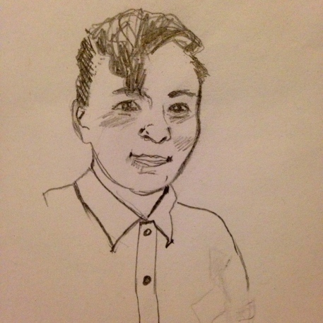 A pencil sketch self-portrait.
